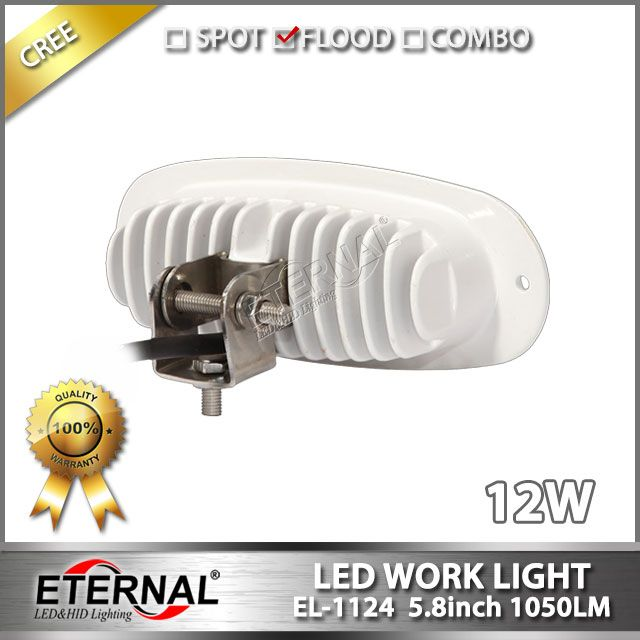 12W marine led work light with flush mount flood beam white housing for marine boat yatch water powersports, dual functions: when take off brackets can mount outside