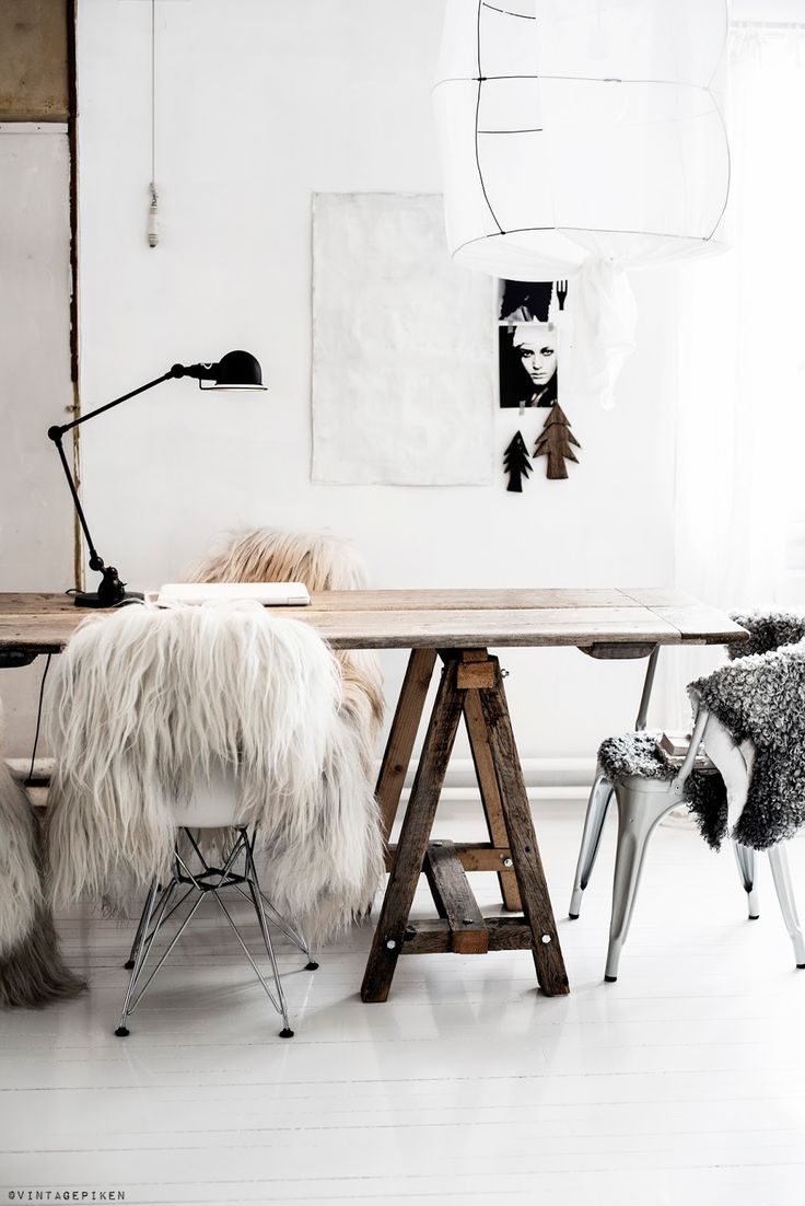 = sawtooth table, cotton lamp and furs = vintagepiken