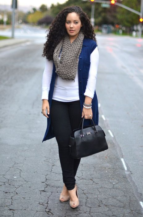 No boring white here, just a beautiful background for a full scarf, jewel-toned blue vest and a black bag. #plus_size_fashion