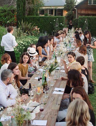 Long table outside