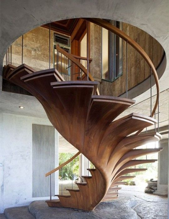 Modern Staircase With Hardwood Floors, Spiral Staircase, High Ceiling