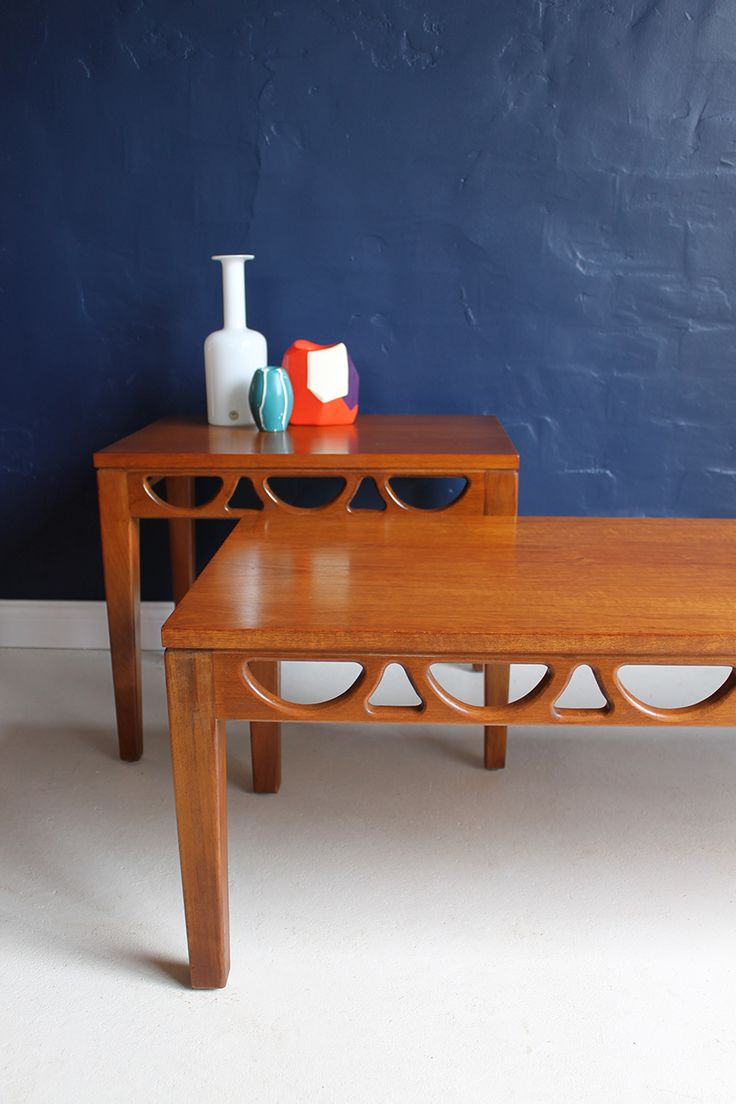 Avalon mid-century 1960s teak coffee and side table, detail