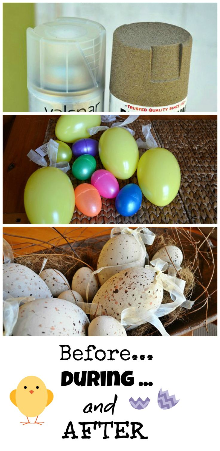 """DIY Make eggs that look """"real"""" from plastic Easter eggs: Prep the eggs with plastic coat before textured spray paint"""