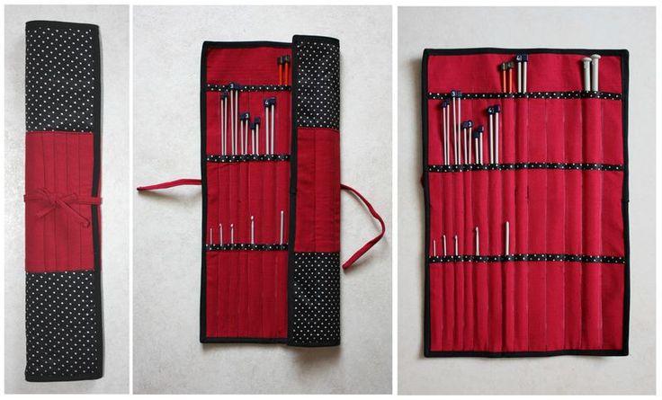 Pochette pour aiguilles droites et crochet