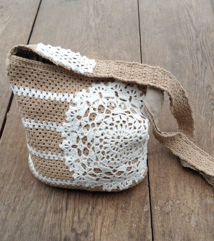 Crochet bag pattern bag with a doily por Chicandsimplicity en Etsy