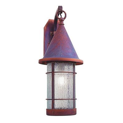 "Arroyo Craftsman Valencia 1-Light Outdoor Wall Lantern Size: 28.63"" H x 11.25"" W x 17.25"" D, Finish: Raw Copper, Shade Type: Clear Seedy"