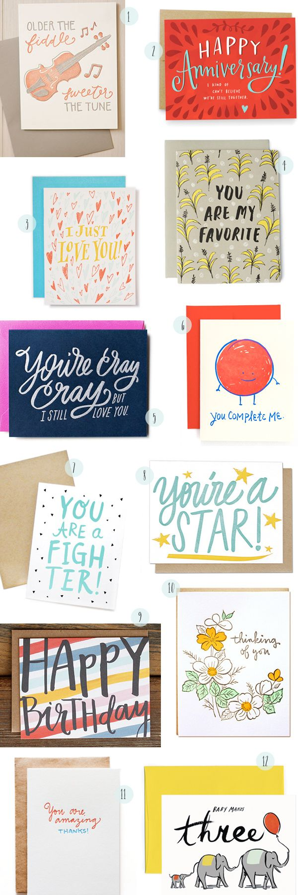 Hand Lettered Greeting Cards Round Up by Oh So Beautiful Paper: ohsobeautifulpape... | 1. Belle  Union; 2. Emily McDowell; 3. Ladyfingers Letterpress; 4. Sycamore Street Press; 5. Moglea; 6. Hello!Lucky; 7. The Paper Cub Co.; 8. Thimblepress; 9. One Canoe Two; 10. Parrott Design Studio; 11. Iron Curtain Press; 12. Idlewild Co. | Click through for full links and resources!