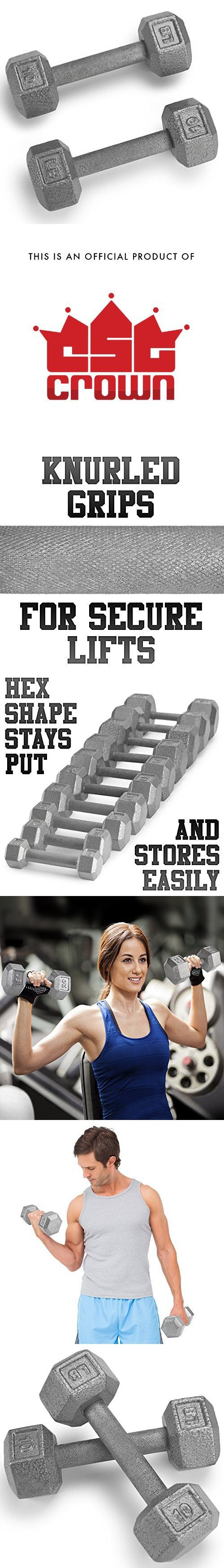 Crown Sporting Goods Pair (2) of Cast Iron Hex Dumbbells with Hammertone Finish (10 LB)