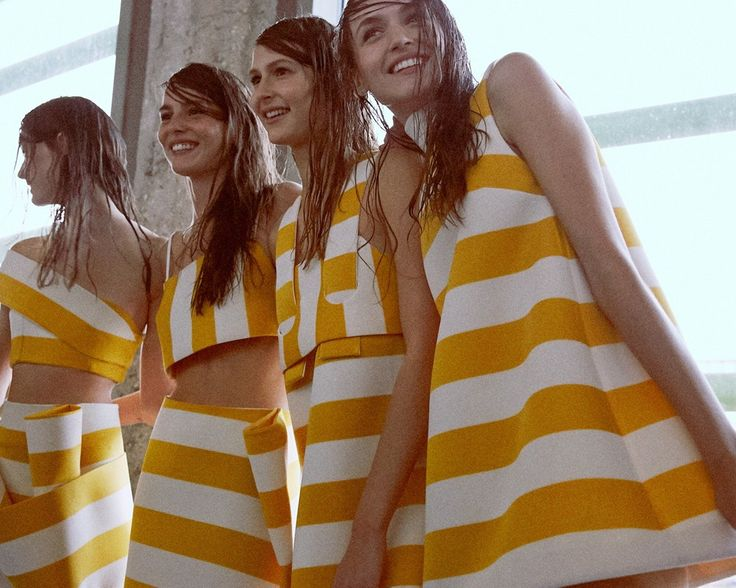 Parasol yellow striped dresses backstage at Jacquemus SS15 PFW. More images here: http://www.dazeddigital.com/fashion/article/21908/1/jacquemus-ss15
