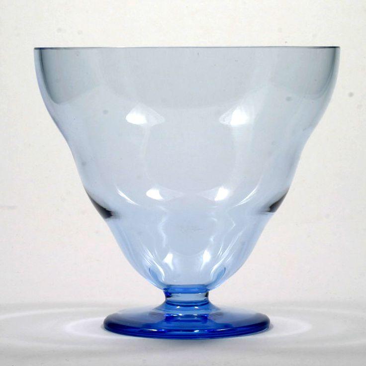 Karhula Blue Art Glass Vase Bowl Signed Göran Hongell Finland Vintage