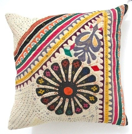 Vintage Appliqué by the nomadic Rabari makes divine cushions!