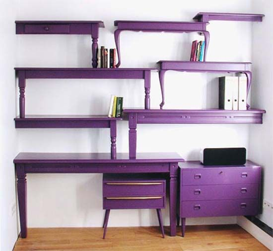 purple table bookshelves. so cool!