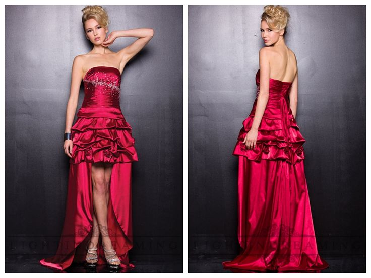 Ruffled Strapless Satin High Low Prom Dresses http://www.ckdress.com/ruffled-strapless-satin-high-low-prom-dresses-p-  118.html  #wedding #dresses #dress #lightindream #lightindreaming #wed #clothing   #gown #weddingdresses #dressesonline #dressonline #bride