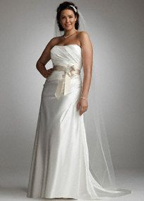 Grace your guests with sheer elegance and feel like a true princessin this strapless slim charmeuse gown.  Soft charmeuse fabric and side-drapecreate a slimming silhouette.  Ribbon sash features beautiful applique detail.  Sweep train.  Fully lined. Imported polyester. Dry clean only.  Availableby special order only inIvory/Champagne, Solid Ivory, White/Champagne and SolidWhite.  Also available in Missy Sizes 0-16 as Style WG3026,: David S Bridal, Wedding Dressses, Davids Bridal, Side Drape Gown, Wedding Ideas, Davidsbridal, Dresses, Gowns, Charmeuse Side Drape