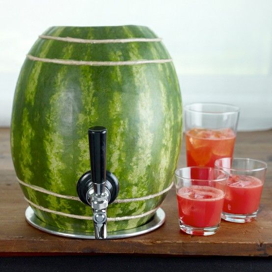 Watermelon KEG.  I wonder if you can just jam a spout into a hallowed out one and actually use it?