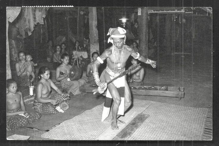 Dayak Warrior dancing photo Tattoo Women Borneo Malaysia