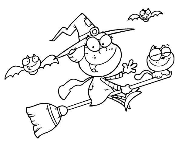 dibujo de bruja con gato para colorear