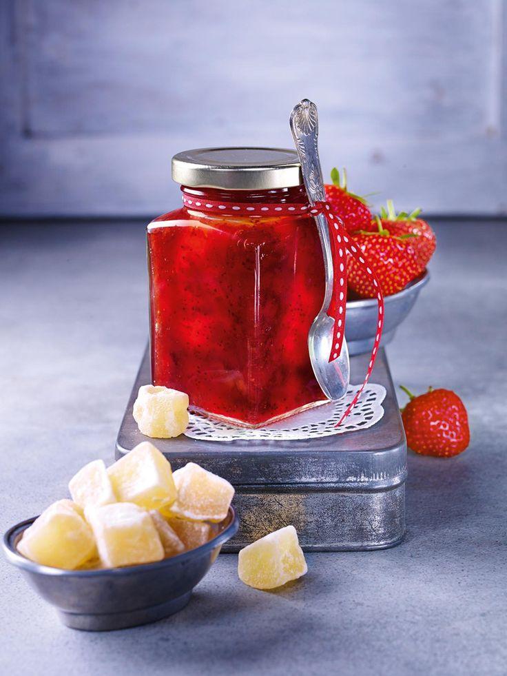 Erdbeer-Ingwer-Konfitüre - Erdbeerkonfitüre mit einem Hauch Ingwer für das Frühstück