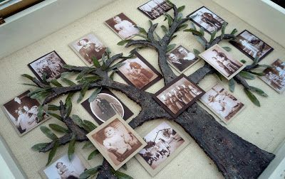 How To Make A Family Tree Picture Shadow Box Project.     http://craftysisters-nc.blogspot.com/2010/06/my-family-tree-shadow-box.html
