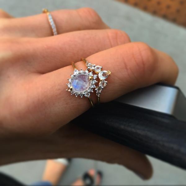 Rainbow Moonstone and Diamond Flowerburst Ring
