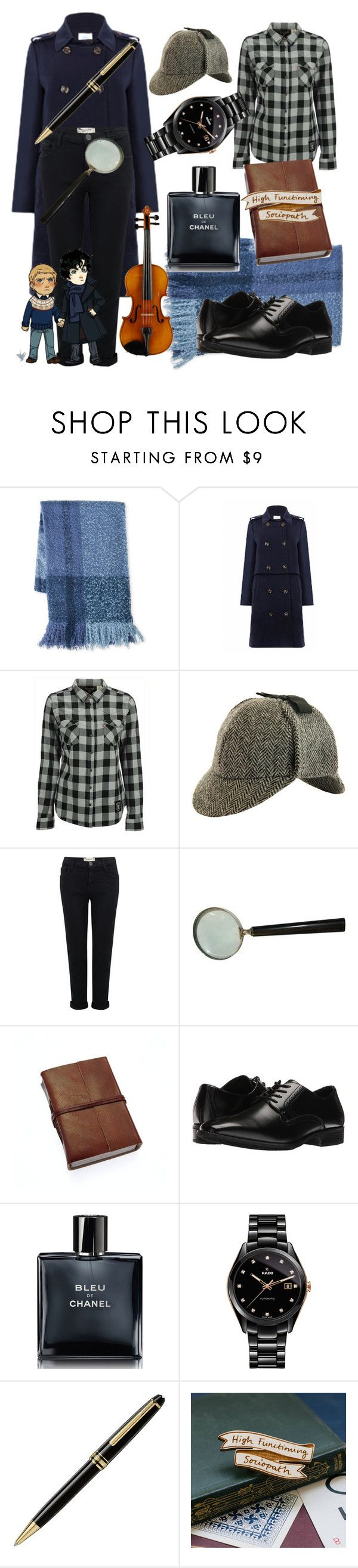"""""""Sherlock Holmes look"""" by tensiled ❤ liked on Polyvore featuring C-LECTIVE, Jovonna, Levi's, Current/Elliott, Stacy Adams, Chanel, Rado, Montblanc and Kate Rowland"""