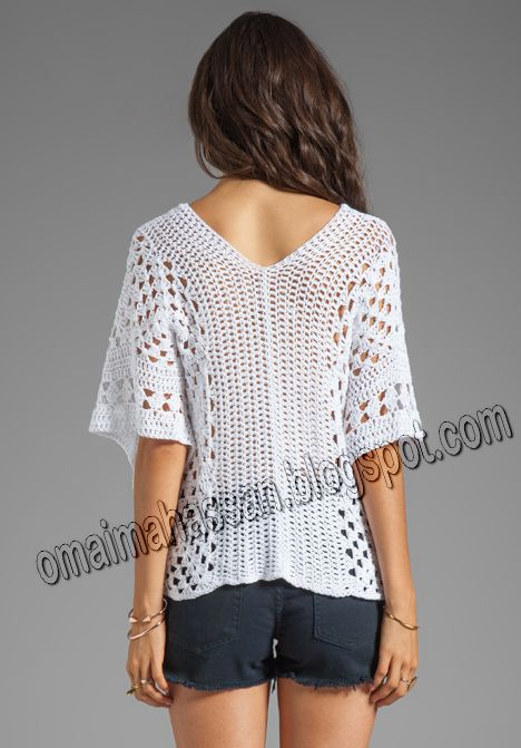 Attention every one .. a new masterpiece is here !   an amazing white poncho ,, so easy to make   its granny squares motifs which join to...