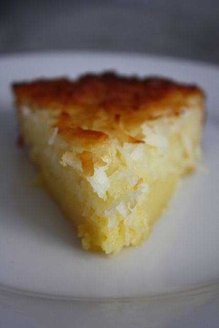 Impossible Coconut pie  4 tablespoons (1/2 stick) unsalted butter, melted  3/4 cups sugar  2 eggs 1/4 cup self-rising flour  1 1/4 cups sweetened shredded coconut 1 cup milk  1 teaspoon vanilla extract