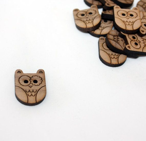 Owl Walnut Round Button Laser Cut Wood by Tangerine8 on Etsy, $2.50