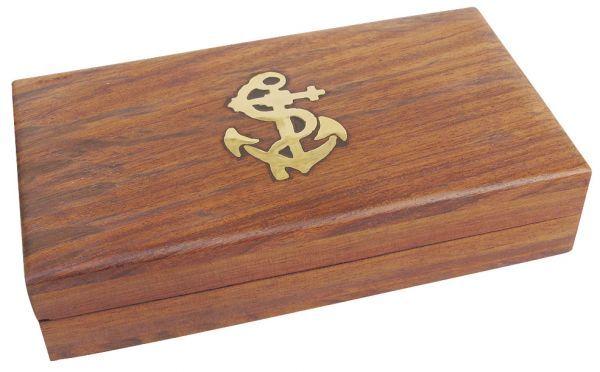 Maritime Holzbox 13,5x7,5x3cm, innen 2-geteilt