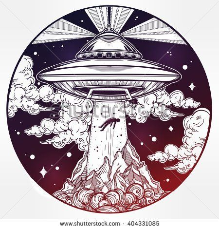 Alien Spaceship. UFO Background with flying saucer abducting a human. Conspiracy theory concept, tattoo art. Isolated vector illustration.