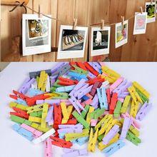 50 UNIDS Natural Colorido Mini Clips de Madera Papel Fotográfico Clavija de Ropa de Primavera de Color Pin Clips Clothespin Craft Decoración Del Partido(China (Mainland))