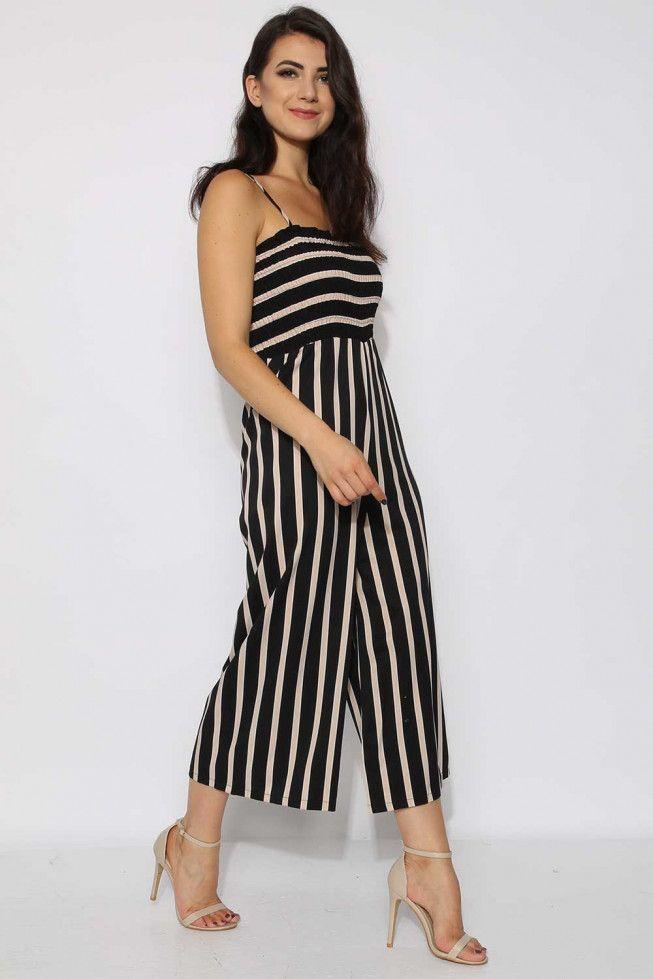dae9a130742 Stripe Cami Culotte Jumpsuit-Black