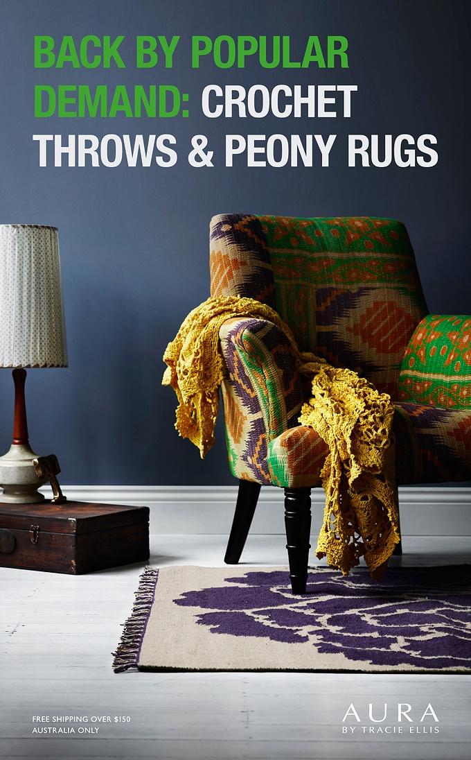 Crochet Throws & Peony Rugs - Aura Home