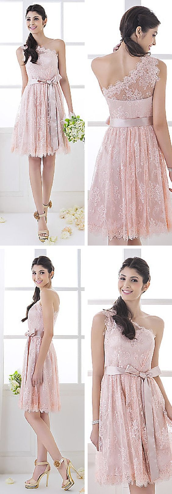 One-shoulder lace bridesmaid dress! Such a lovely and feminine choice. This dress is an affordable way to get custom made bridesmaid dresses in your choice of 32 colors.