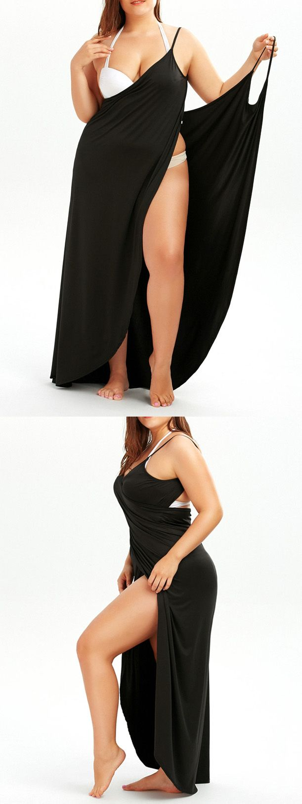 $9.87 Plus Size Slip Wrap Cover Up Dress