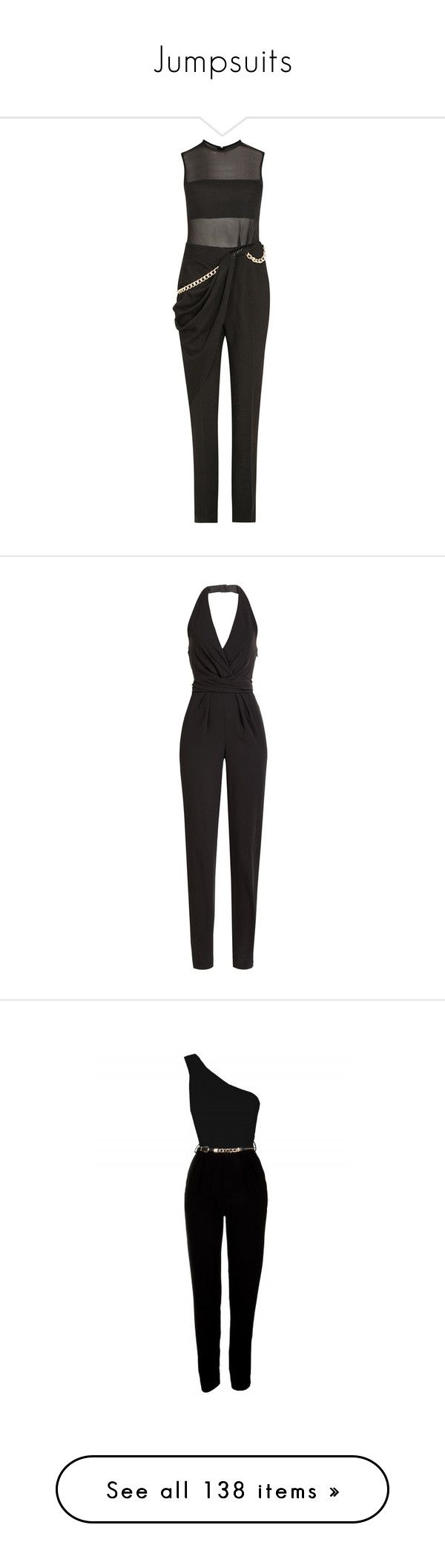 """""""Jumpsuits"""" by the-wanted-potato ❤ liked on Polyvore featuring jumpsuits, bandeau jumpsuit, draped jumpsuit, jump suit, embellished jumpsuit, crepe jumpsuit, jumpsuit, dresses, rompers and playsuits"""