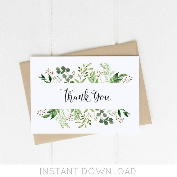 Greenery Thank You Card Template Thank You Card Printable