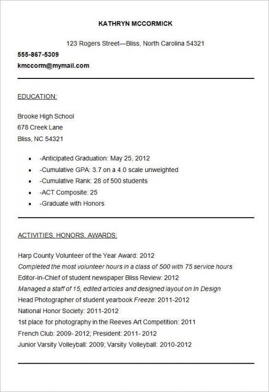 College Resume Samples Resume Examples no experience Pinterest - high school graduate resume examples