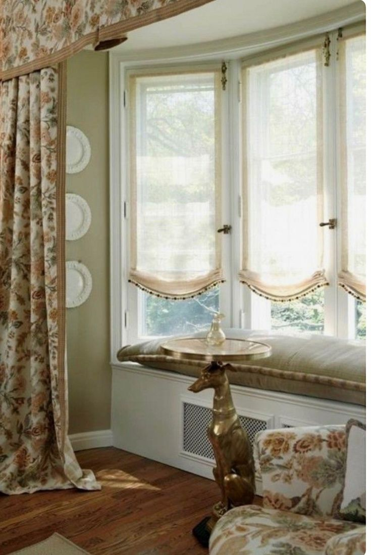 1003 best images about roman shades on pinterest balloon for Curtain treatments for bay windows