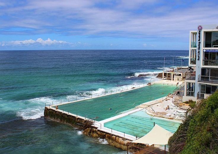 Bondi Beach Icebergs Club. There are two beautiful infinity pools thisclose to the ocean—in fact, those doing laps need to time their breaths so they don't inhale seawater from an oncoming wave! Entrance is only $6.50 per person, and there are facilities like washrooms and showers on site.