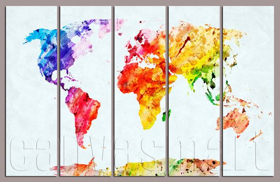 Watercolor Abstract World Map Diptych Triptych Multi Panel