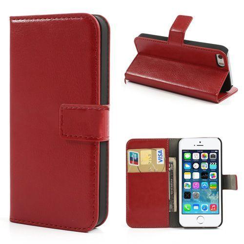 Rood lederen bookcase hoesje voor iPhone 5 / 5s