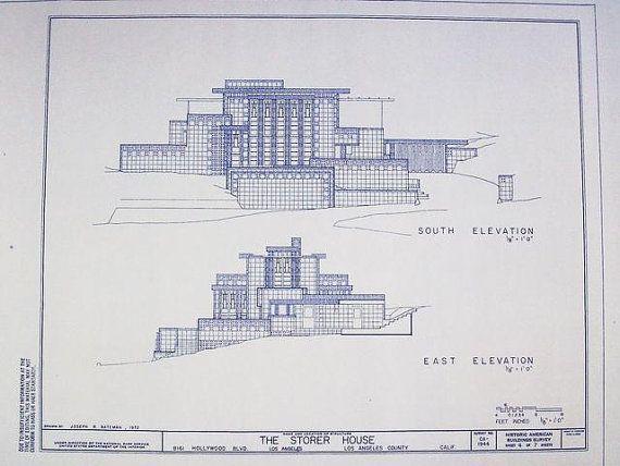 53 best images about fllw storer house on pinterest for Frank lloyd wright blueprints houses