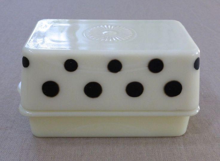 McKee Custard Glass Black Polka Dots 1 Pound Butter Dish ~ Medallion Top ~