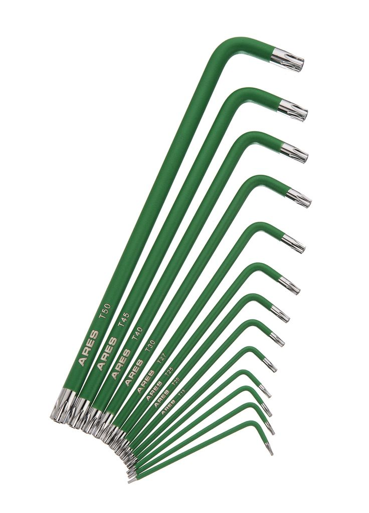 13pc Extra Long Arm Star Key Wrench Set | ARES 70166 | Chrome Finish with Green High Visibility Anti-Slip Coating | Convenient Storage Case Included.