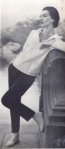 "Coco Chanel | sweater, cigarette pants, flats and and capital ""P"" Pearls, 1955..."