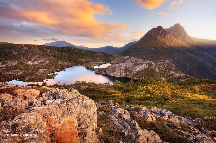 Sunset over the jagged peaks of Cradle Mountain and the Twisted Lakes, TAS