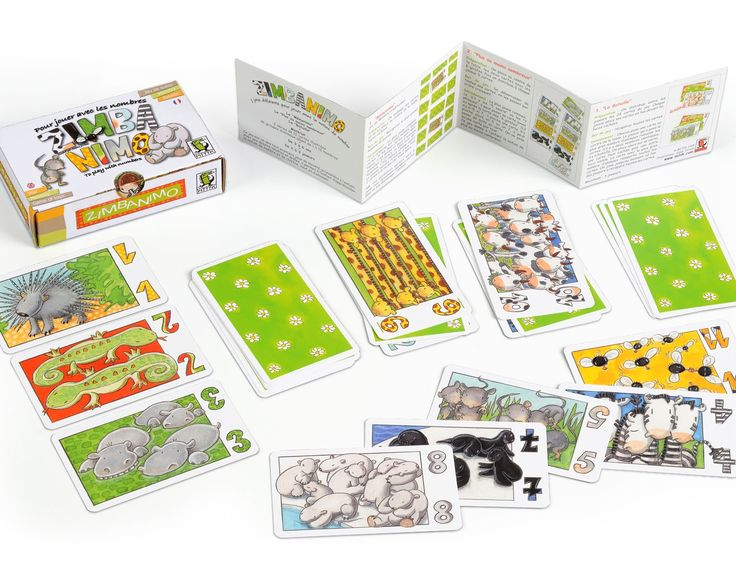 Zimbanimo  is a beautifully illustrated children's card game from French company Mitik. These number cards for young children will help them have fun with numbers.  Animals in number sets from 1 to 12 have been brilliantly drawn by French illustrator Sopie Jurado. Instructions for three different games are included