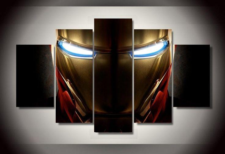 5 Piece Multi Panel Modern Home Decor Framed Iron Man Helmet Marvel Comic Wall Canvas Art