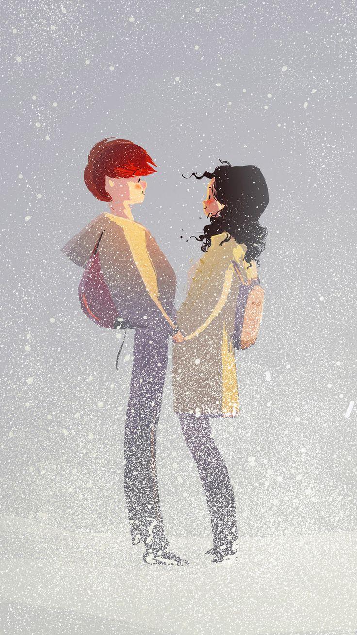 Зимние картинки карандашом влюбленные